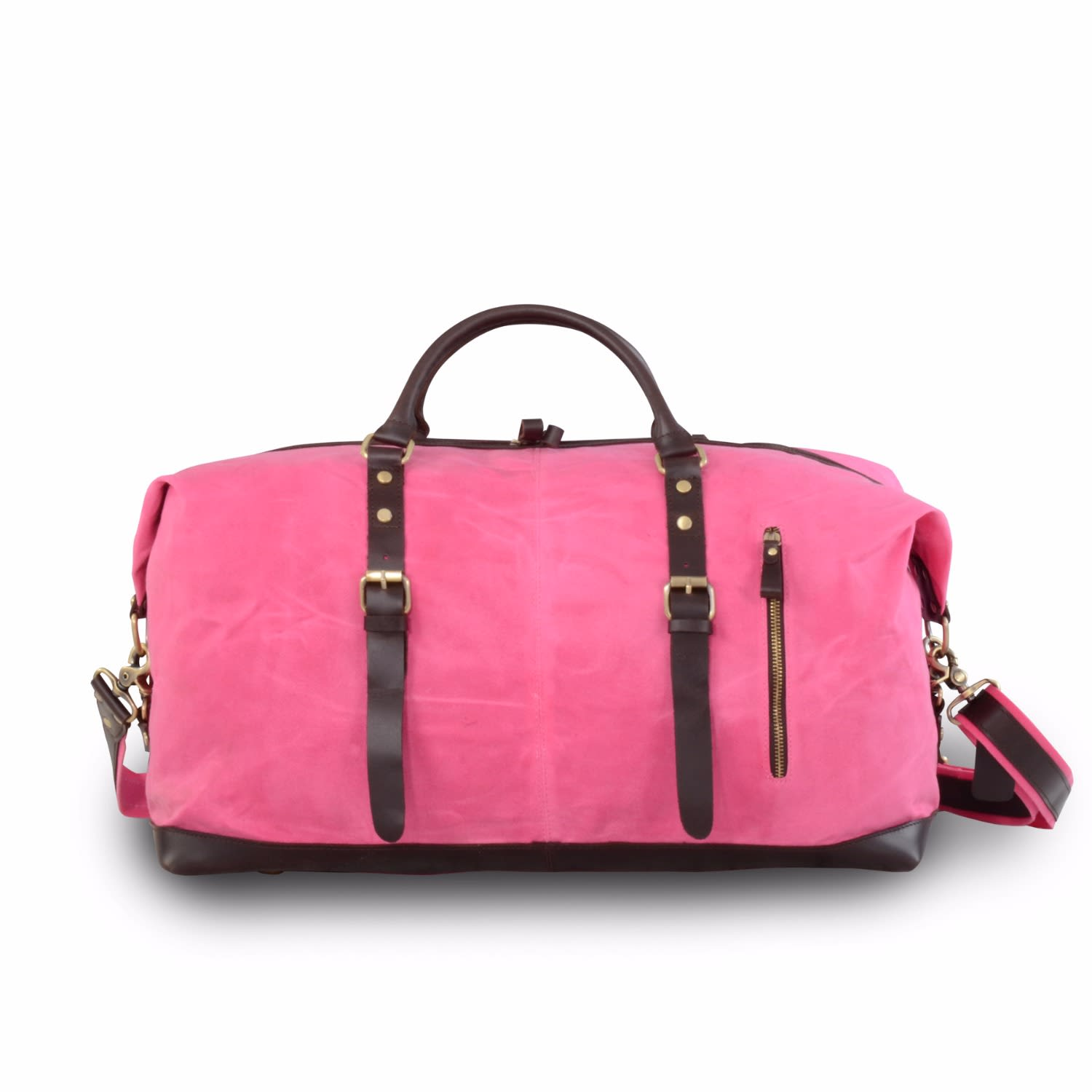 bf21bb7c1f Handmade Waxed Canvas Travel Holdall Pink image