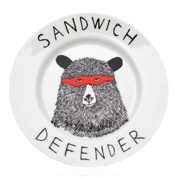 sandwich defender plate jimbob art wolf badger. Black Bedroom Furniture Sets. Home Design Ideas