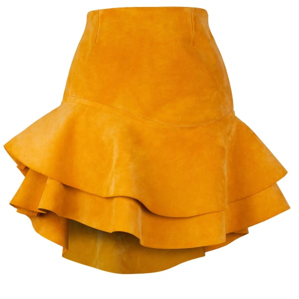 SIOBHAN MOLLOY Lashes Tangerine Calf Suede Skirt