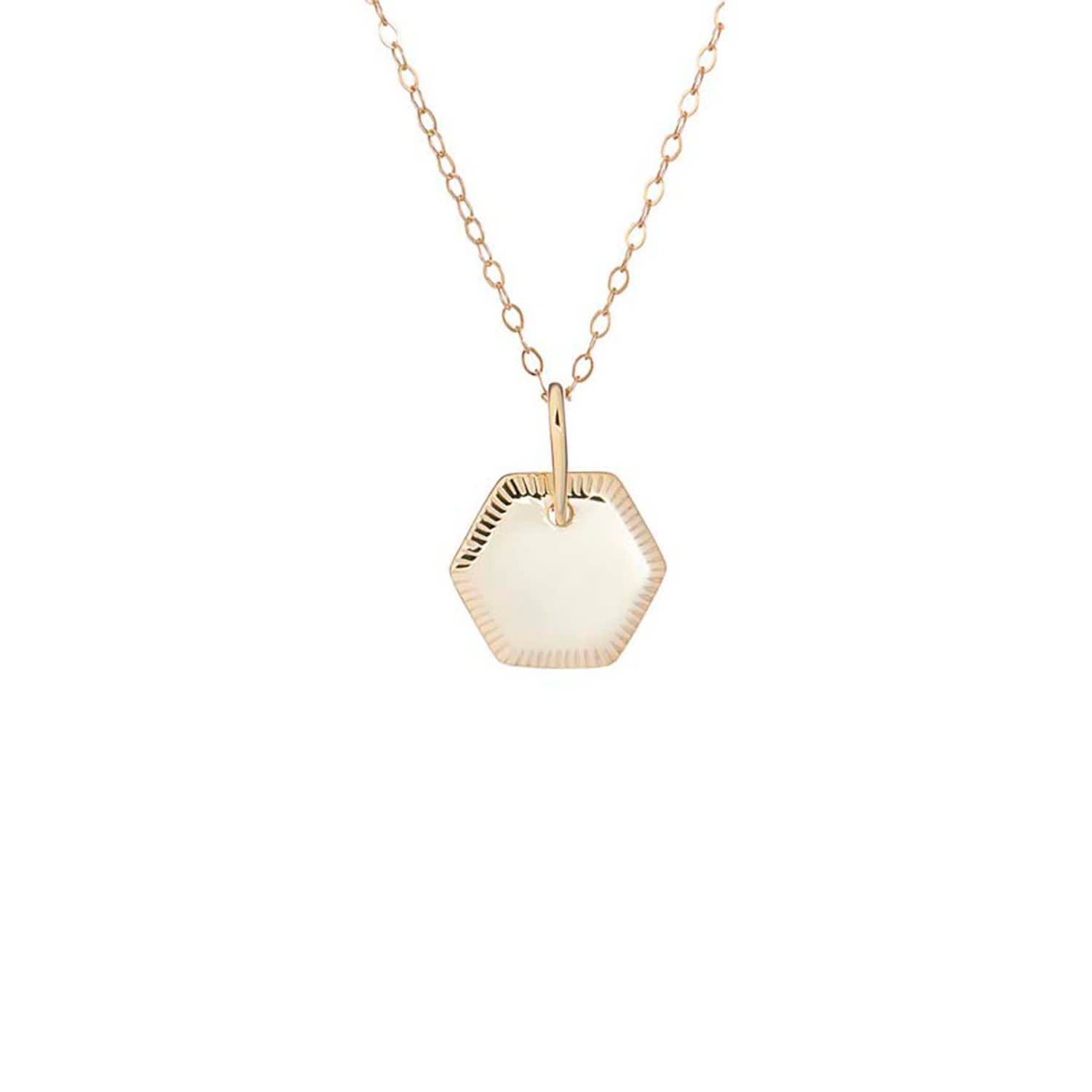 ebe06b077f13c Gold Disc Pendant With Engraved Edge Detail With Chain by One and One Studio