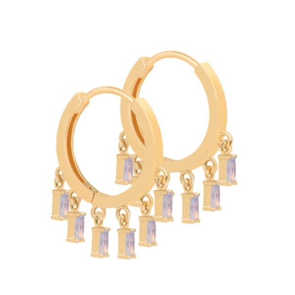 Mystic Opal Charm Hoops In Gold