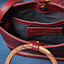 Mini Italian Leather Wood Bucket Tote Crossbody In Cabernet image