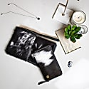 Matching Clutch & Purse Gift Set In Black & White Pony Hair Leather image
