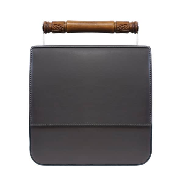 AEVHA LONDON Helve Crossbody In Charcoal With Wooden Handle