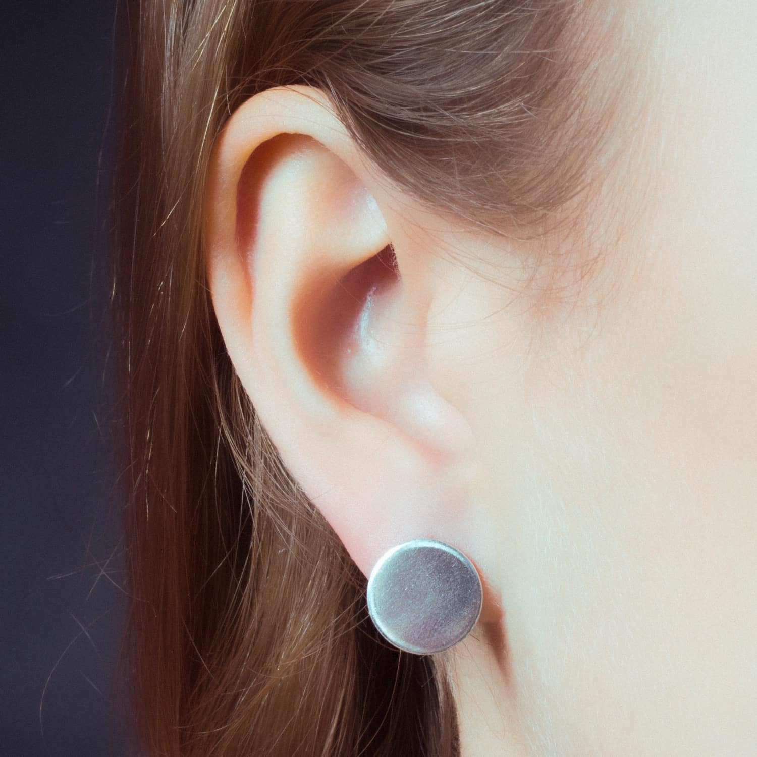 f8b63b51a0cc8 Large Circle Disc Stud Earrings Sterling Silver by Lucy Ashton Jewellery