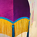 Purple Velvet Scalloped Dome Shade With Yellow Fringe & Blue Tassels & Braid image