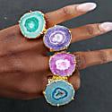 Turquoise Gemstone 'Solar Power' Gold Statement Ring image