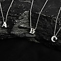 Diamond Initial Letter Pendant Necklace Rose Gold R image