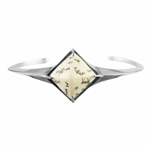 Sami Reindeer Pyramid Bangle Silver