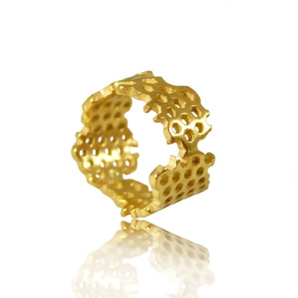 KAROLINA BIK JEWELLERY Honeycomb Ring Gold