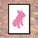 French Bulldog Geometric Print - Frank Pink On White image