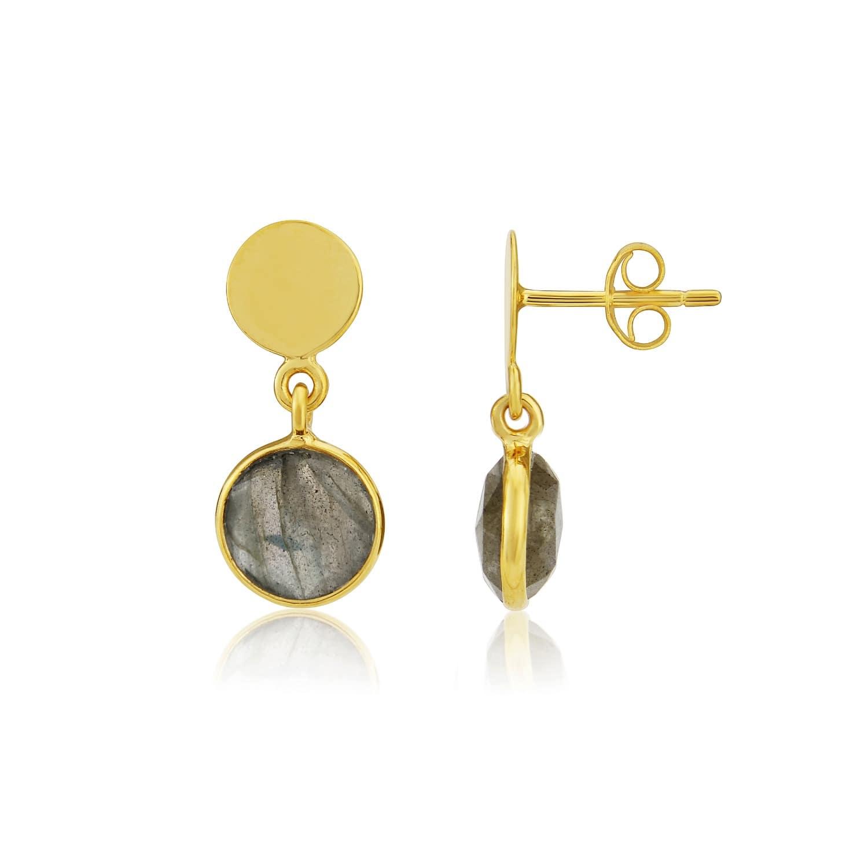 cd02efd33 Signum Gold Vermeil Disc & Labradorite Earrings   Auree Jewellery ...