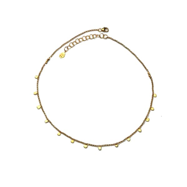 YVONNE HENDERSON JEWELLERY Tiny Dot Gold Disc Choker Necklace