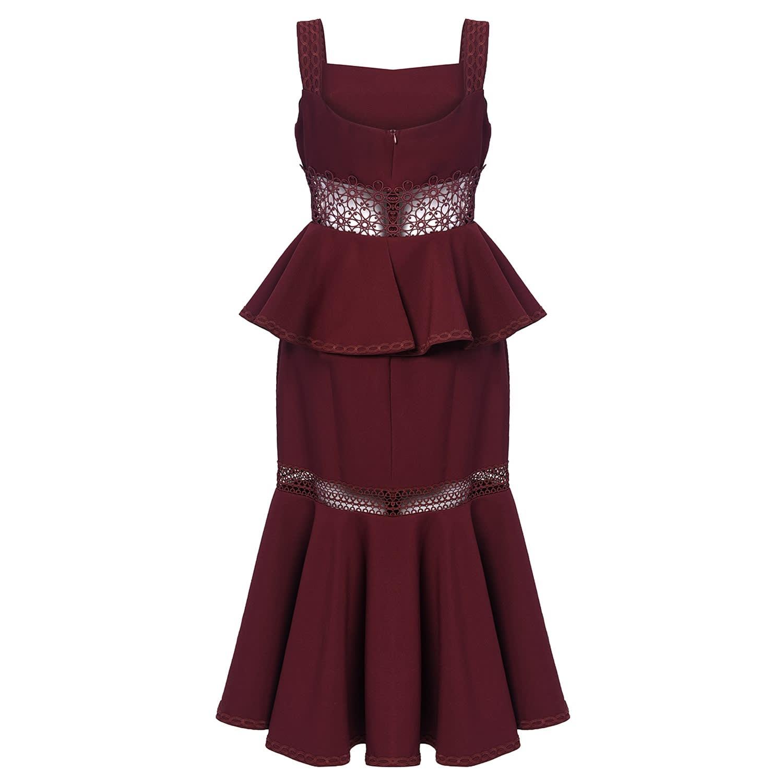 Burgundy Peplum Lace Midi Dress By True Decadence