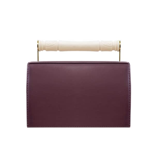 AEVHA LONDON Helve Clutch In Mulberry With Resin Handle