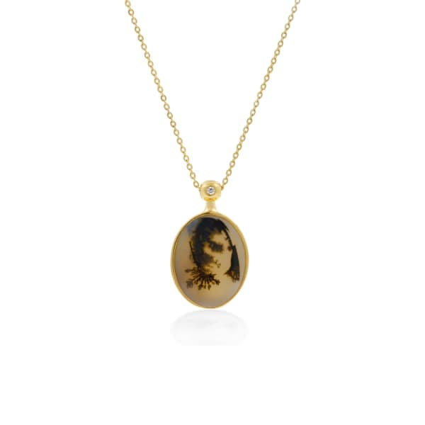 NO 13 Agate & Diamond Pendant Necklace – 9Ct Solid Gold