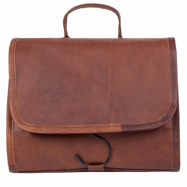 MAHI LEATHER Leather Hanging Wash Toiletry Bag Dopp Kit in Vintage Brown with Hook