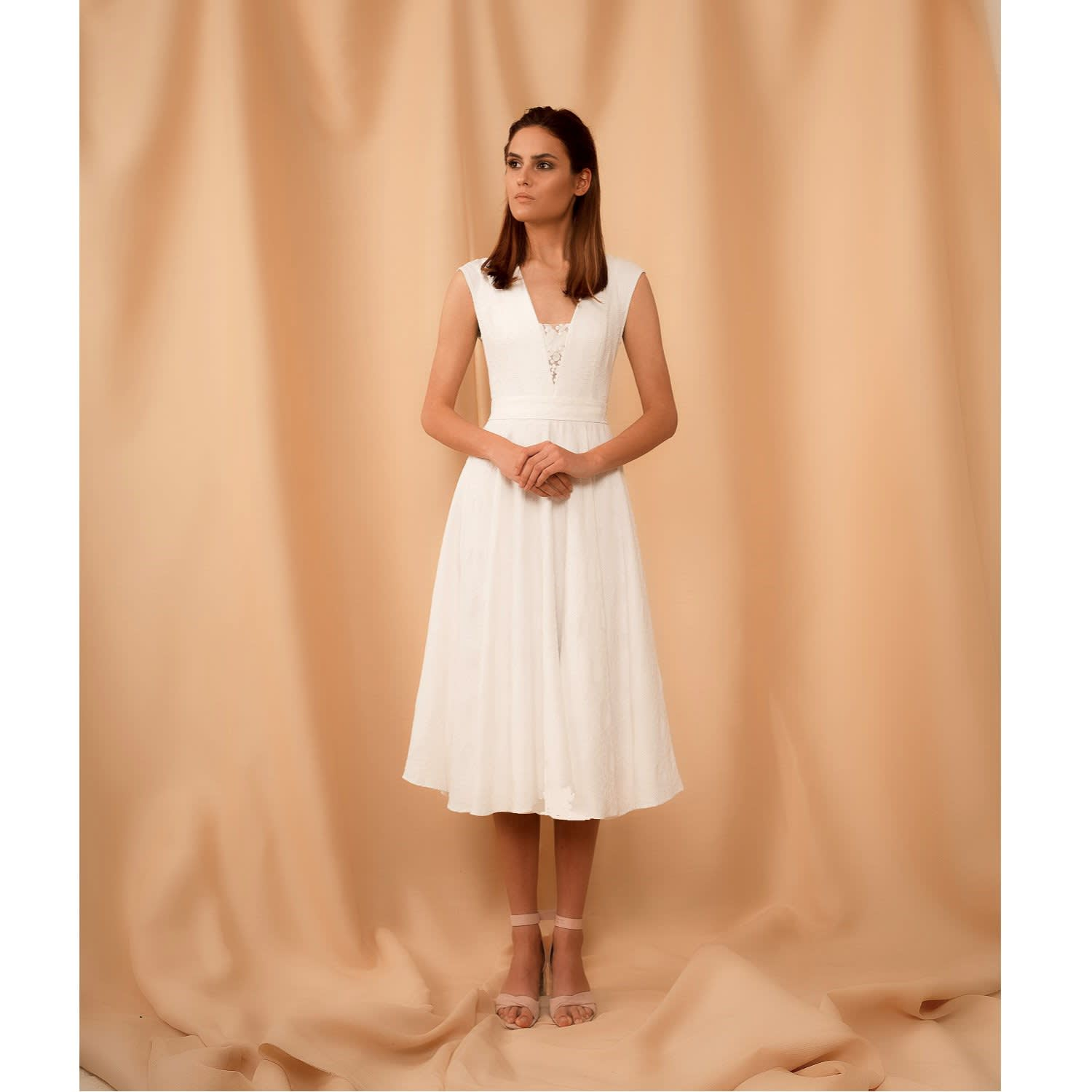 459e7c0837 Midi White Dress Tina With Deep V Neck image