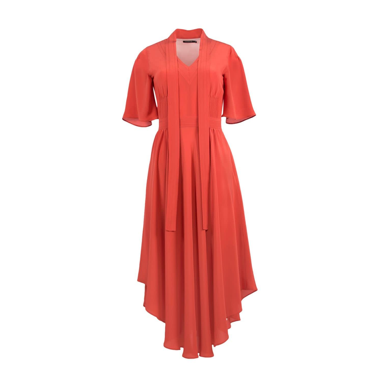 Scarlet Red Silk Dress 2 (M) by Shopyte
