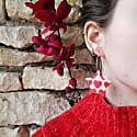 Red & Pink Love Heart Star Clay Hoop Earrings image