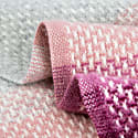 Super Fluffy Pure New Wool Blanket - Grey With Shades Of Wine & Pink image