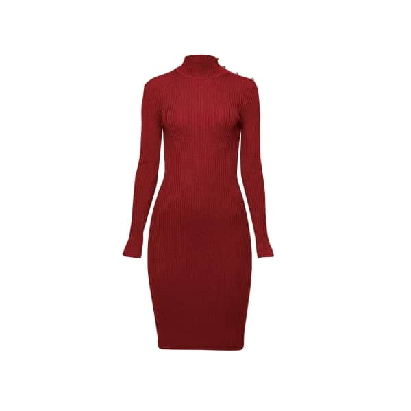 RUMOUR LONDON Andrea Ribbed Wool Midi Dress In Burgundy in Red