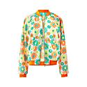 Floral Bomber Jacket - Green/Orange image