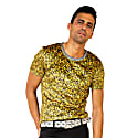 Larvotto Gold-Colosseum Tee In Ultra-Fine Liquid Shimmer Stretch Fabric image