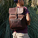 Vintage Look Leather Backpack With Front Pocket In Russet Brown image