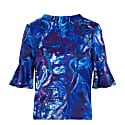 Reversible Rosie Silk Satin Top In Ocean Water image