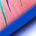 Blue & Pink Palm Leaf Linen Cushion image
