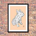 French Bulldog Geometric Print - Frank in White On Peach image
