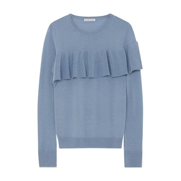 ILLE DE COCOS Merino Ruffle Sweater Sky & Gold