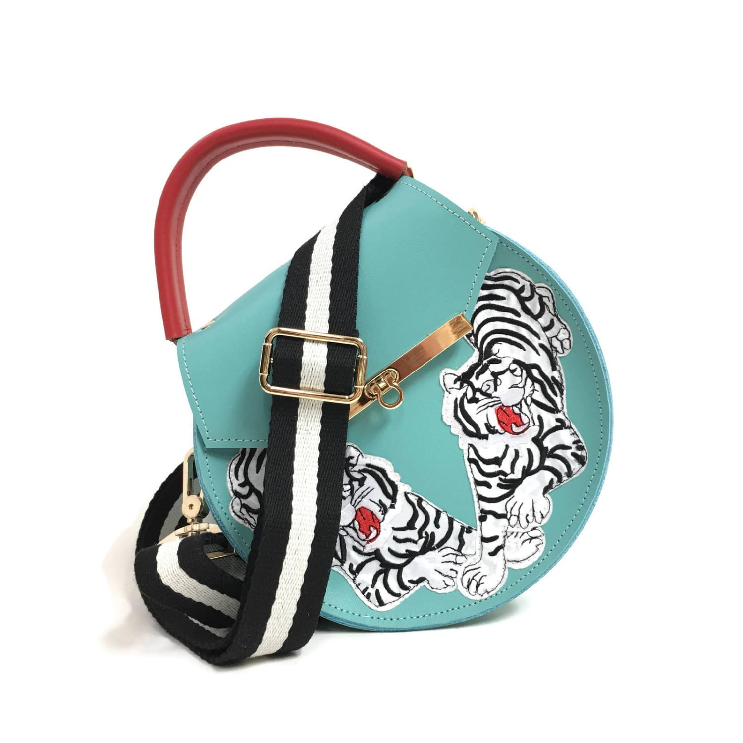 Loel Tiger Embroidered Top Handle Bag Image