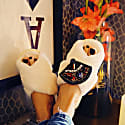 Cream Fluffy Slippers With Fan Brooch image
