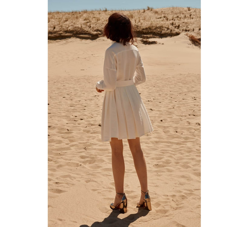 4f8a9d58481 Tacenda White Linen Circle Skirt Summer Occasion Mini Dress image