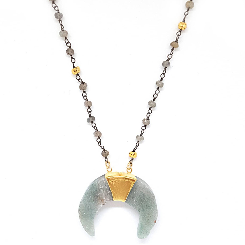d5ddd590b0d31 Labradorite & Aventurine Divider Necklace by Zoe Alexandria