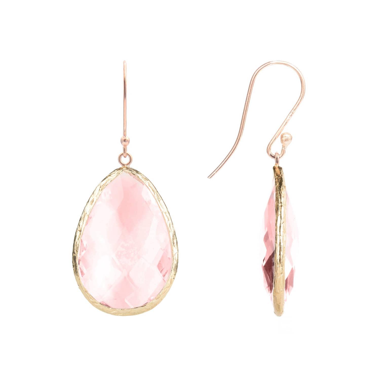 Latelita London Rose Gold Single Drop Earring Rose Quartz eg1Si2