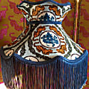 Tiger Chinoiserie Blue Velvet Crown Shade With Blue Fringe & Braid image