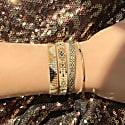 Beaded Set Of Two Bracelets In Beige, Gold & Grey Tones image
