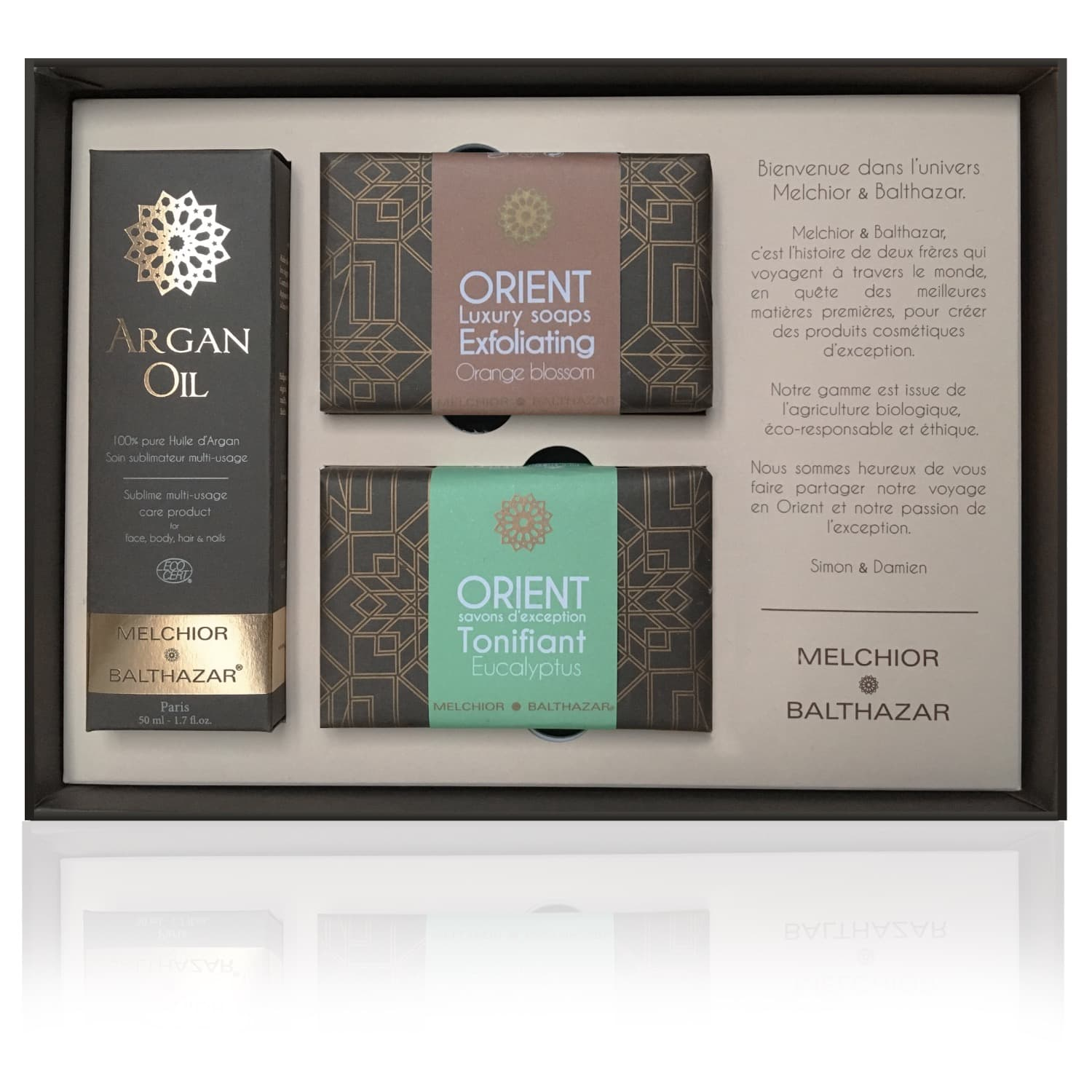 Exception Gift Box (pure 50 ml Argan Oil bottle + Luxury Tonifying  Eucalyptus and Exfoliating Orange Blossom Creamy Soaps) by Melchior &  Balthazar