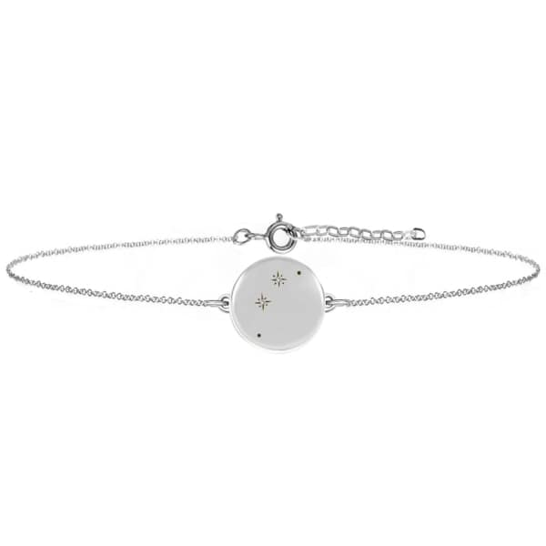NO 13 Aries Zodiac Constellation Bracelet Diamonds & Silver