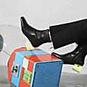 Statuette - Black Leather Acrylic Heel Boots image