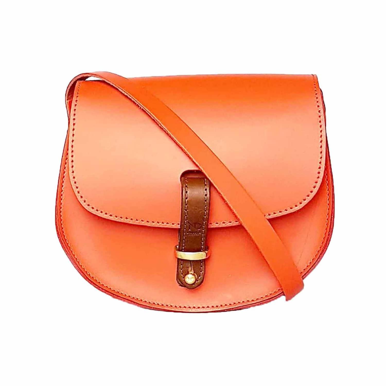 5b41aaffee66 Mini Victoria Orange Leather Crossbody Saddle Bag image