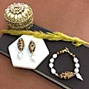 Freshwater Pearls & Tiger Eye Stones With Leaf Bracelet image