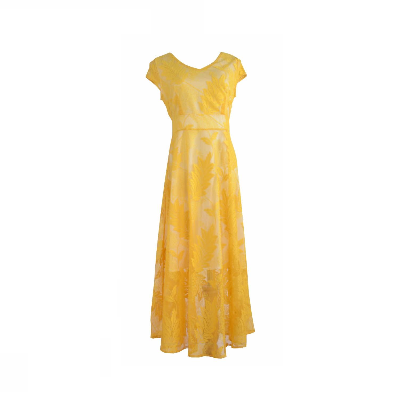 4758b86db2 Embroidered Midi Dress In Lemon Yellow image