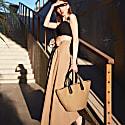 Adjustable Waist Midi Poplin Skirt (Black) image