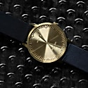 Leff Amsterdam T32 Watch With Brass Coloured Case & Black Leather Strap image
