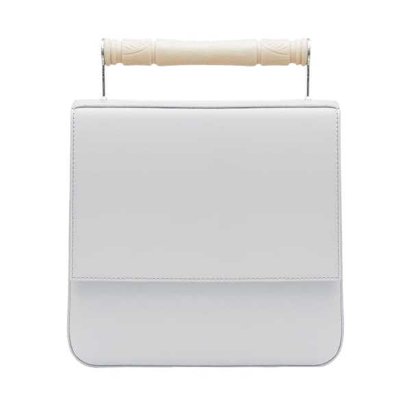 AEVHA LONDON Helve Crossbody In Dove With Resin Handle