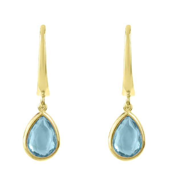 Pisa Mini Teardrop Earring Gold Blue Topaz